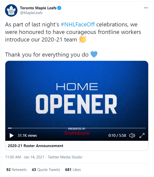 Screenshot of Toronto Maple Leafs tweeting to celebrate dairy farmers announcing players