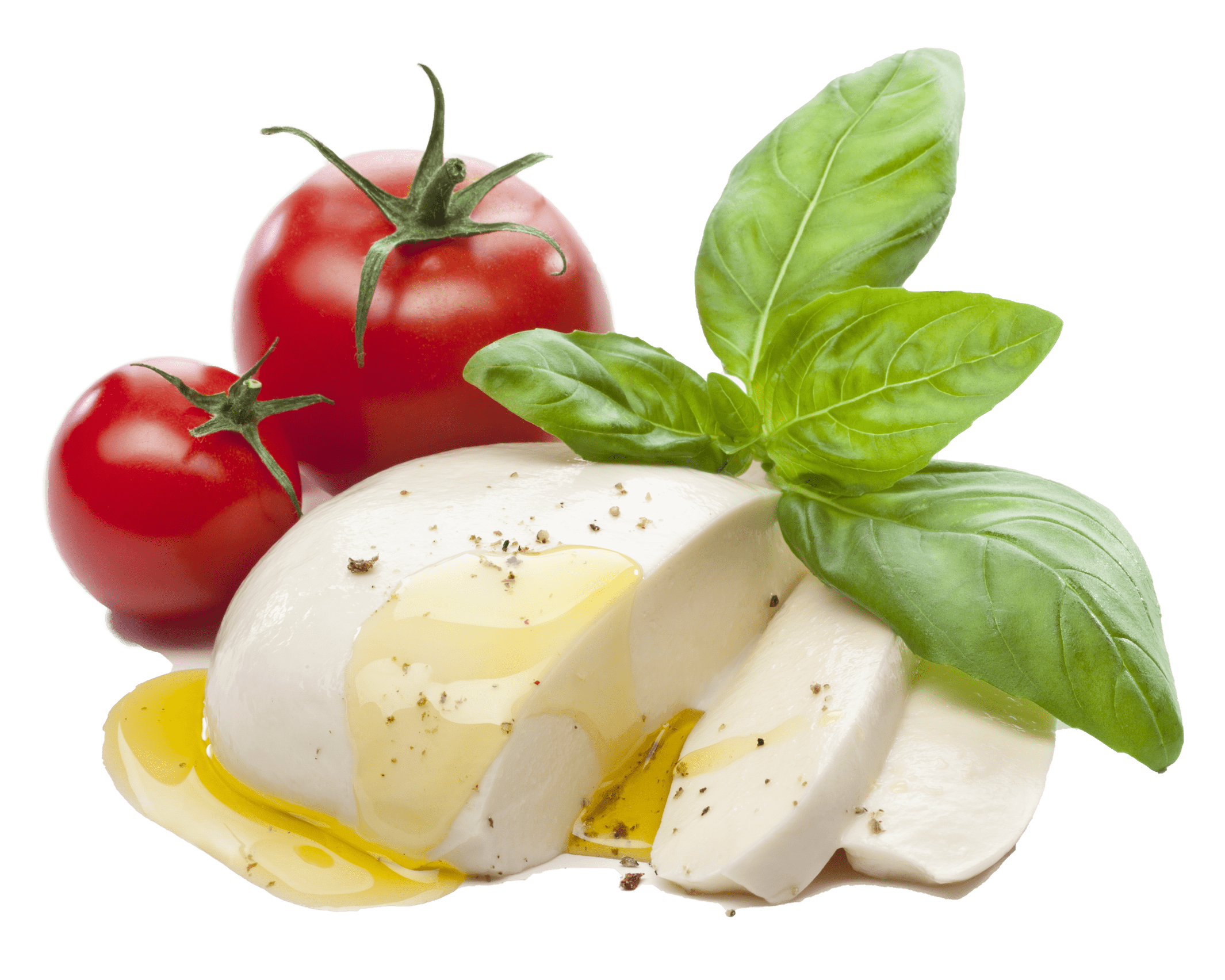 Fresh mozzarella cheese with olive oil, pepper, tomatoes and basil leaves