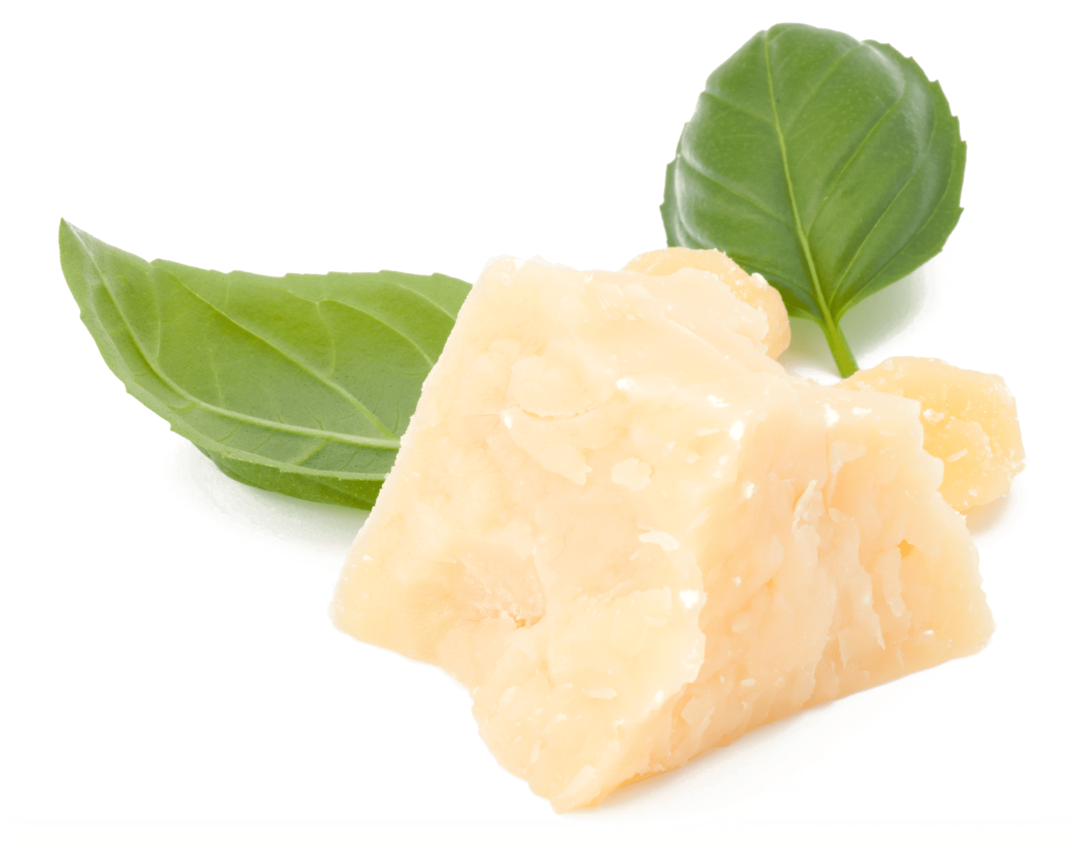 Block of parmesan cheese with basil leaves