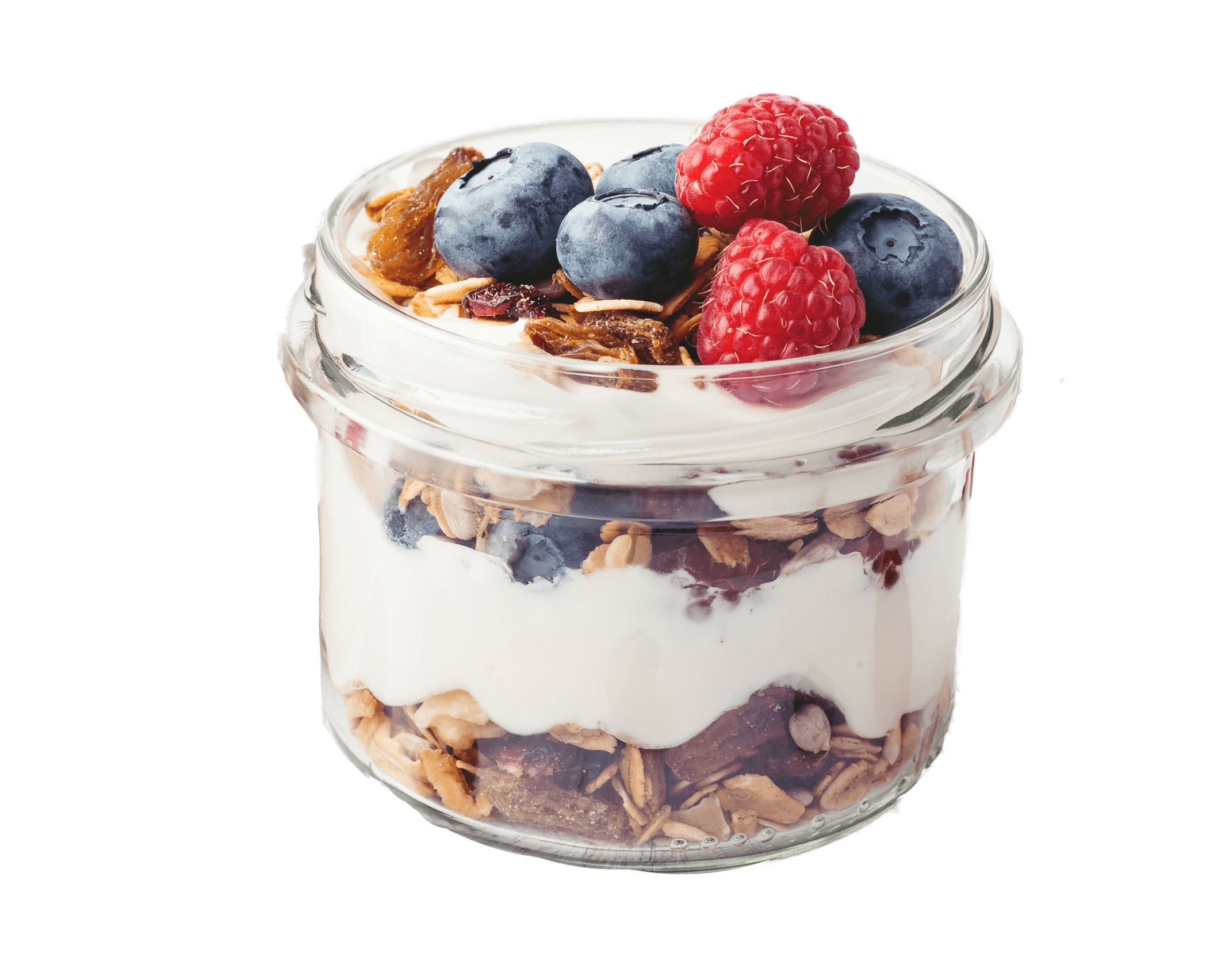 Greek yogurt parfait in a jar with berries and granola