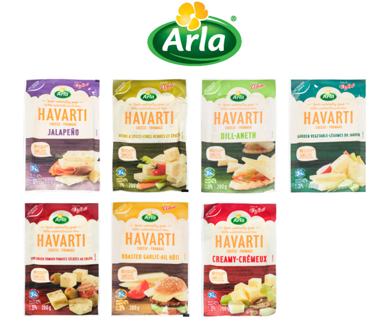 Product images of different Havarti cheeses